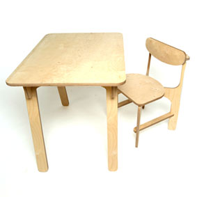 Unlocked C1 plywood desk and chair